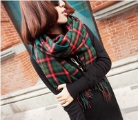 Fashion Winter Acrylic women Lady Plaid Tassel Fringes Scarf Shawl Pashmina Wraps Ring