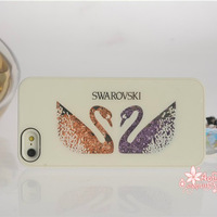 bling crystal Swan Diamond Case cover for swarovski for iphone5 for iphone5s for iphone5