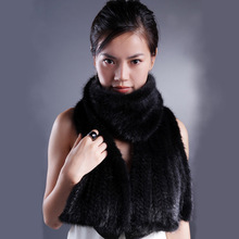 Ultra long thickening double faced knitted winter fur scarf cape dual mink fur long scarf(China (Mainland))