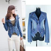 Ssy denim outerwear women's silk liner top rivet shoulder pads dovetail type slim denim coat 9873a