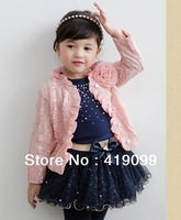 5 sets/lot 2013 baby girls dress set/clothes set fashion girl Pearls highlight suit (jacket+dress) 2 pcs kid garment Wholesale