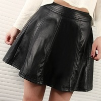 2013 autumn and winter female bust skirt high waist short skirt pleated a-line skirt PU suede leather skirt