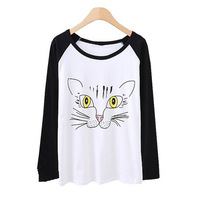 Lovely Girl Crewneck Cat Beard Print Raglan Tops Long Sleeve T-shirt Tee Blouse Free shipping & Drop shipping