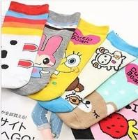 Wholesale Price 5 Pairs/lot Cute Korean Socks Cartoon Women's Socks Warm Cotton Ladies Soks Free Shipping