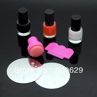 DIY Nail Art Stamping Set Stamping Nail printer,Stamps + Scraper+2 flower plates+3 nail Polish es Freeshipping