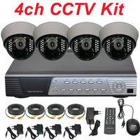 Free shipping 4ch cctv kit whole cctv system install IR cctv security surveillance camera 4ch full D1 DVR digital video recorder