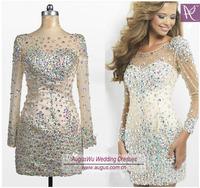 AEL3374custom made Sexy Illusion Neckline Short Sheath V Back Satin Tulle Heavy Stones Beaded Long Sleeve Evening Dress