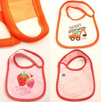 2014 Hot Cotton Baby Bib Infant Saliva Towels 1pc/lot Baby Waterproof Bib With a Little Embroidery 2 Models Free Shipping 653902