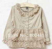2014 spring new style girls  long sleeve sweet lace blouse kids' shirts white khaki 6pcs/lot brand name