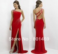 Stylish 2014 Red  Sheath Prom Dresses One Shoulder Sexy Back  Sparkling  Beads Bodice Front Slit  Ruched Charmeuse Evening Gown