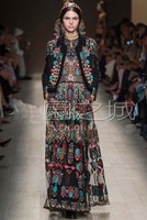 2014 Spring International Latest European Designer Brand Runway Dress    Luxury Vintage Print Long Dress