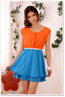 2013 new hot sell women's O-Neck sleeveless dresses Pure color comfortable chiffon dress