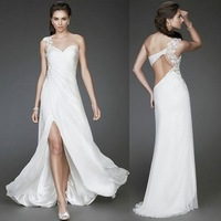 Sexy 2014 New Arrival Free Shipping One shoulder Appliques Beading White Chiffon Sheath Slit Evening Gown Custom Made Prom Dress