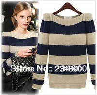 Women's Fashion Striped Pullover Crochet Sweater Casual Plus Size Tops Knitted Jumper