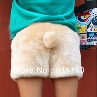 Trend Knitting 2013 Winter New Women's thicken shorts fleeces rabbit's tail Sexy cute beige Boots pants