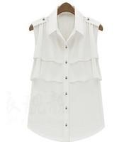 Fashion sleeveless chiffon shirt plus size clothing turn-down collar cardigan ruffle shirt  FREE SHIPPING