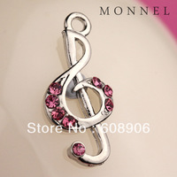 H119 Cute Pink Crystal Music Note Charm Pendant Wholesale (3pcs)
