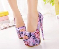 Hot Fashion Vintage fancy multi color ultra high stage color block decoration open toe dance Nightclub Pump Platform DX184