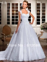 2014 Cap Sleeve Sweetheart Corset Pleat Fish Bone Princess Organza Pleat Lace Appliques Bridal Wedding Dresses