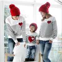 Top Qaulity Fashion autumn fashion family pack family set mother and child clothes for mother and daughter stripe long-sleeve