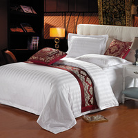 Linen bedding 100% cotton satin duvet cover white bedrug four piece set