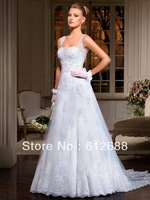 2014 Bridal Gown White Straps A line Organza with Appliques Lace Beaded Sash Bridal Wedding Dresses