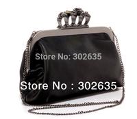 Free shipping 40PCS/LOT  Ring Bag Clutch Purse Handbag Women Lady Skulls Knuckle Black Duster Clutch/Evening Bag PU Leather