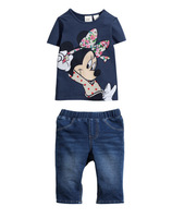 2014 New Arrival Girls Navy Blue Minnie Mouse t shirts+ Trousers 2pcs outfits Girls Outfits girls clothing suits