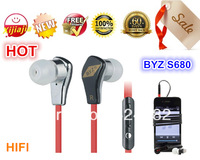 2013NEW, BYZ S68 mobile phone earphones with mic, HIFI noise cancelling in ear headsets music stereo headphone,Free shipping