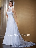 2014 High Neck Off shoulder A line Lace With Appliques Sequins Organza Bridal Wedding Dresses