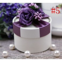 24pcs Puprle Color Luxury European Style New Wedding Flower Candy Box Cylindrical Wedding Favors Holder Gift