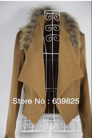Women fall and winter clothes new Korean short paragraph woolen coat fur collar woolen coat jacket free shipping(China (Mainland))