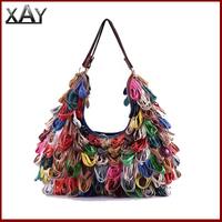 New 2014 Free Shipping Patchwork Fringe Handbags Women Genuine Leather Handbags Designers Tassel Bag 1948