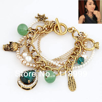 2013 Free Shipping Luxury Baroque Green Emerald Pearls with Words Charms Bracelets Jewelry For Women