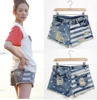 Promotion New 2013 short summer women star fashion casual ripped stripes flag print denim shorts jean free shipping YQ05061