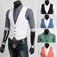 2014 New Casual Sleeveless Men Vest Coats/Brand Spring Summer V-neck Vests Men Tops/Candy Color Designer Men Clothing