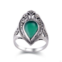 Free shipping Pure Natural Agate Ring Stone Green Precious Emerald 925 Sterling Silver Rings Finger Fashion Trendsetter US size