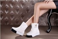 2013 New Women autumn  winter boots genuine leather platform shoes platform shoes elevator boots white boots