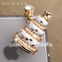 IP668 Hot Sale White Wedding Cake Anti Dust Plug Cover Charm Phone Strap