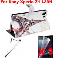 Fashion Case Mobile Phone Leather Case Stand Case+ Screen Protector + Touch Pen For Sony Xperia Z1 C6902/L39h  C6903 C6906 C6943