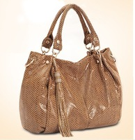 Paul serpentine pattern genuine leather female bags 2013 seeds tassel bag messenger bag