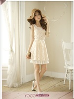 New  Lady's Casual Fashion dress Cute Princess dress Non-sleeves Lace Dress Spring Summer