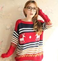 2014 NEW long sweater women big yards size dress Autumn and winter fashion coat crew neck bottoming shirt Christmas girl loose