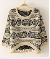 East Knitting SW-014 long sleeve oversized sweaters for women 2013 Vintage totem loose pullovers short knitwears top sale