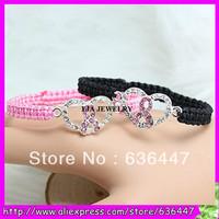 Free ship 20pcs/lot Crystal pave silver tone Pink Ribbon Bracelet, black macrame cord breast cancer awareness sign bracelet
