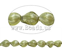 Free shipping!!!Silver Foil Lampwork Beads,Jewelry Making, Twist, plated, light bean green, 18x14x7mm, Hole:Approx 1.5-2mm