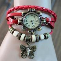 Min. 16 6 Colors Ladies Womens Retro Leather Bracelet Butterfly Decoration Quartz Luxury Vintage Wrist Watch Wristwatch 058P