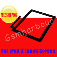 100% GUARANTEE 5pcs/lot US17.6/PCS Touch screen digitizer for iPad 3 Black +white color with free sticker free shipping