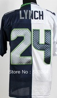 Free Shipping,#24 Marshawn Lynch Men's Spilt Elite American football jersey Cheap Sale,Hot Promotion!Accept mix order