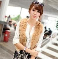 Free Shipping 2013  Fur Vest Short Design Vest Real Rabbit Sweater Vest 8 Color 5 Size For Women